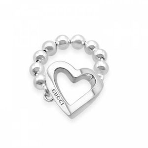 Authentic Silver Gucci Toggle Heart Ring